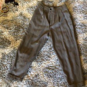 ZARA front pleated trousers in brown/grey